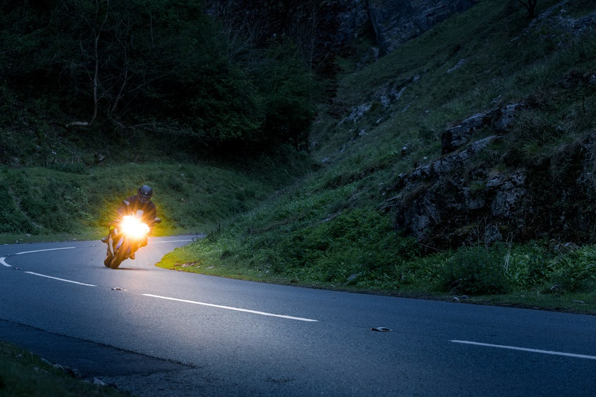 Motorcycle at night.